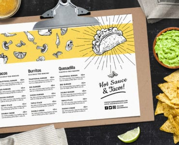 A4 Landscape Mexican Restaurant Menu Template