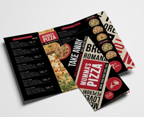 Pizza Restaurant Tri-Fold Menu Template
