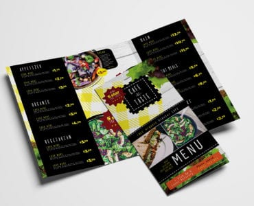 Salad Restaurant Tri-Fold Menu Template