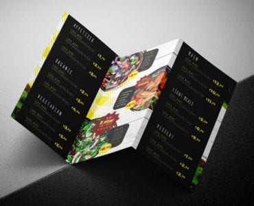 Salad Restaurant Tri-Fold Menu Template