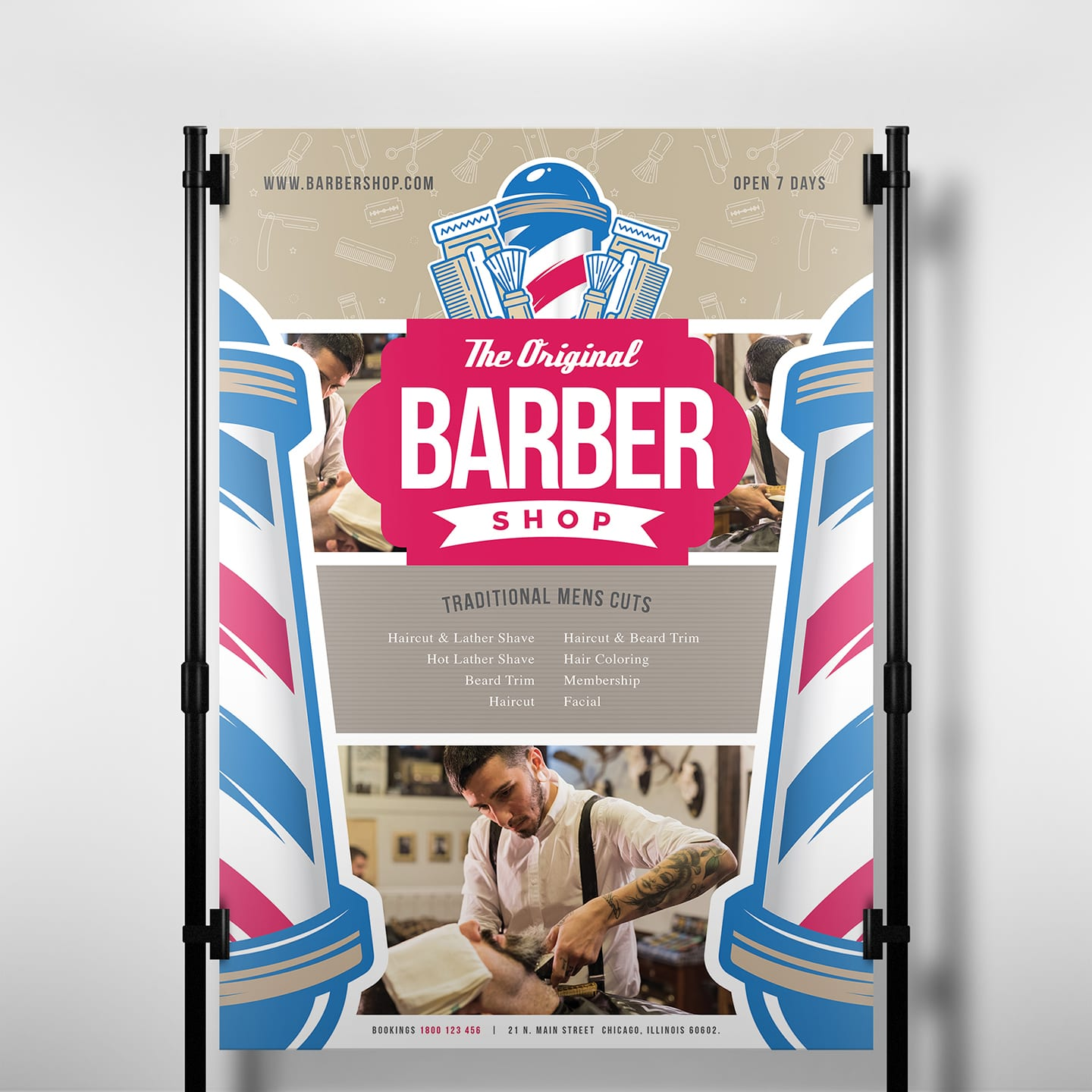 A3 Barber Shop Poster Template in PSD, Ai & Vector