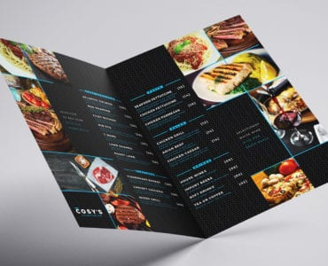 A3 Folding Restaurant Menu Template