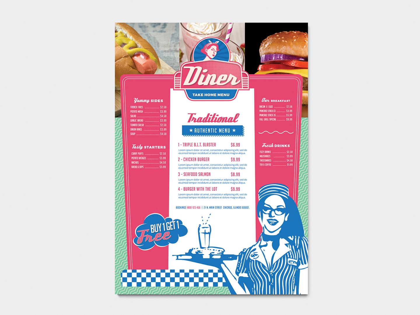 A4 American Diner Menu Template In Psd Ai Vector Brandpacks