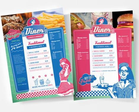 A4 American Diner Menu Template