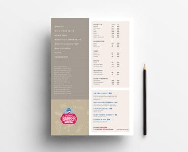 A4 Barber's Shop Price List Template