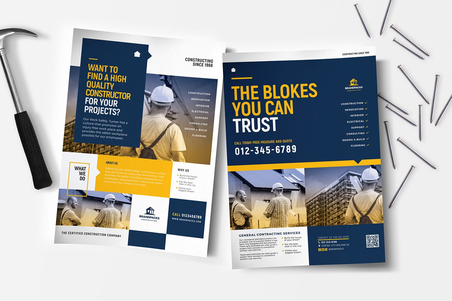 A4 Construction Company Advertisement Templates