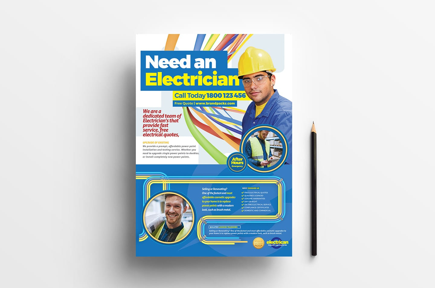 A4 Electrician Poster Advertisement Template In Psd Ai