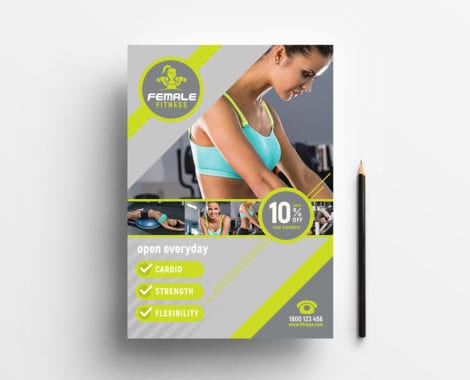 A4 Female Fitness Poster Template