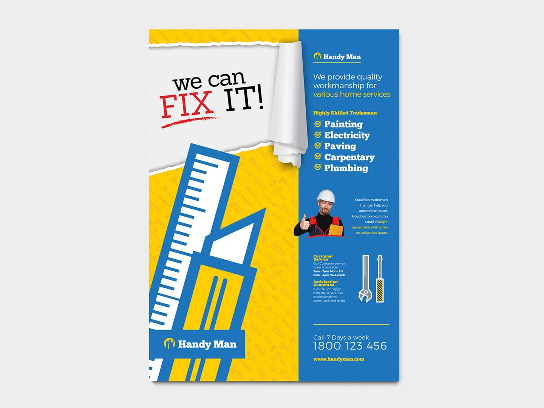 A4 Handyman Poster Template in PSD, Ai & Vector - BrandPacks