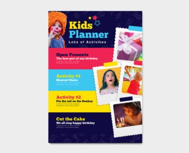 A4 Kid's Party Poster Template