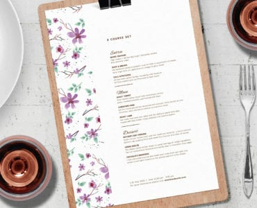 A4 Mothers Day Menu Layout Template