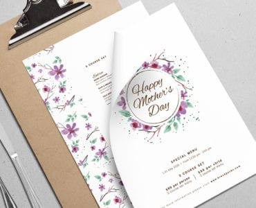 A4 Mothers Day Menu Template