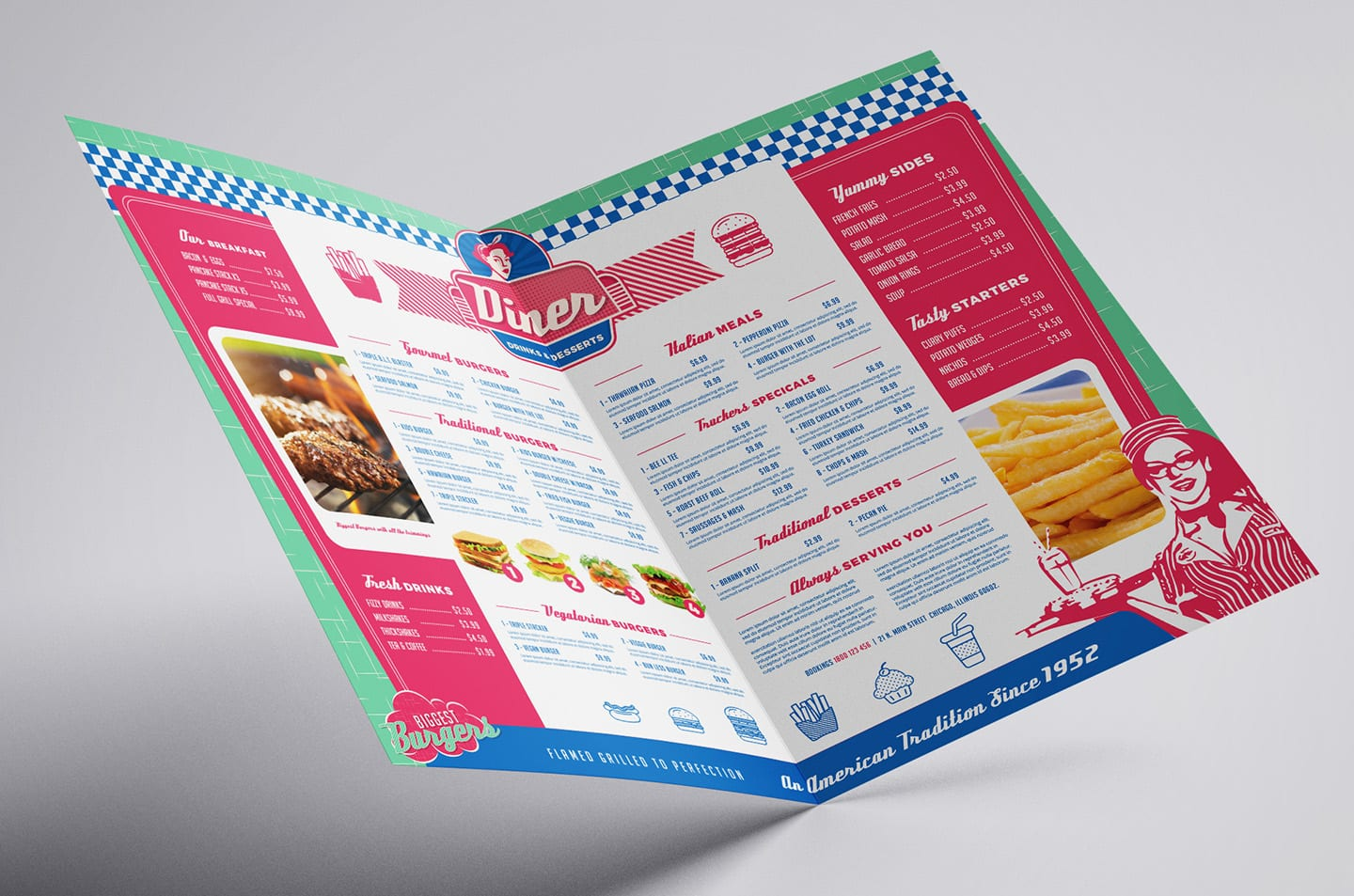 American Diner Folding Menu Template In Psd Ai Vector Brandpacks