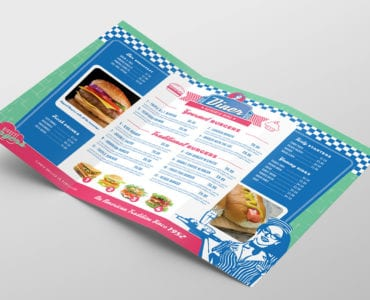 American Diner Tri-Fold Brochure Template