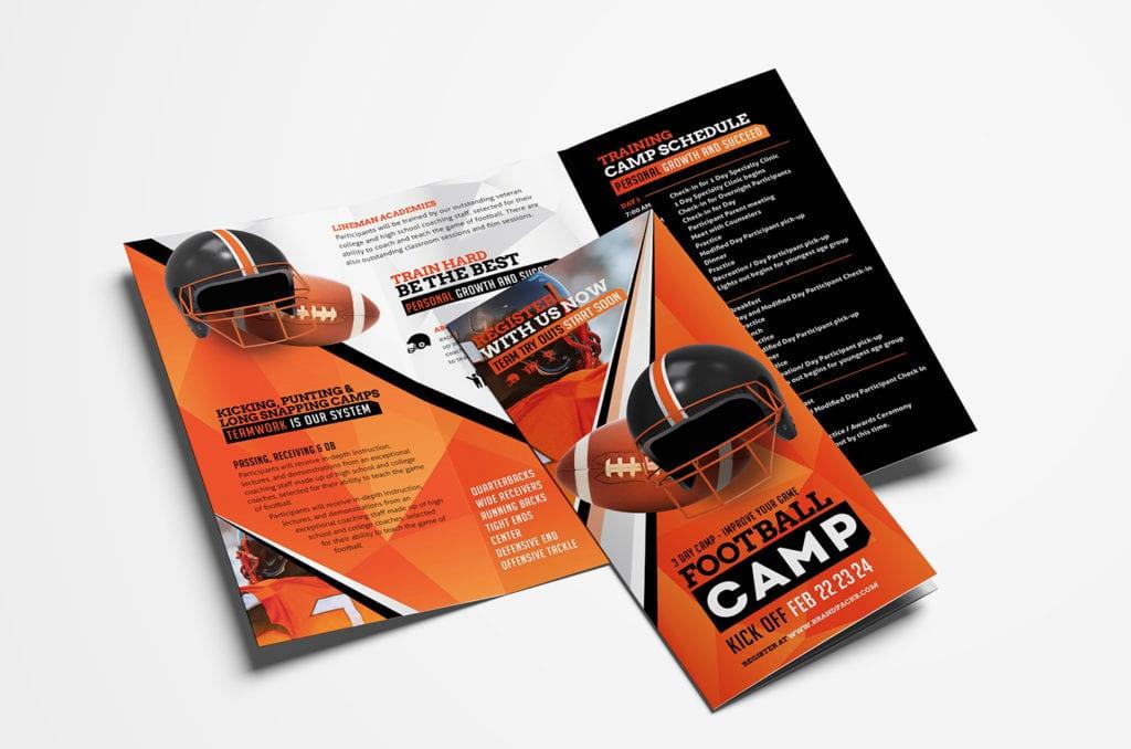 American Football Camp Tri-Fold Brochure Template