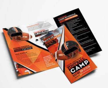 American Football Camp Tri-Fold Brochure Template