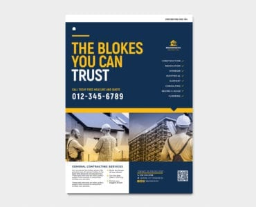A4 Construction Company Advertisement Template