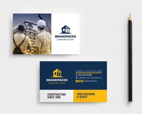 Construction Company Business Card Template