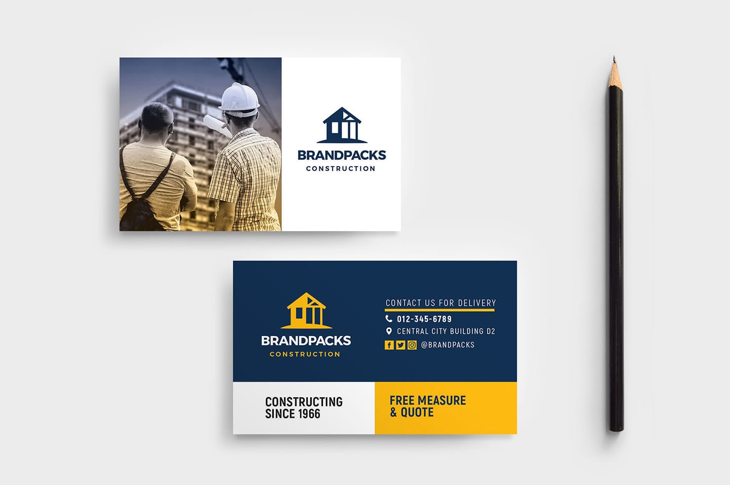 Construction Company Business Card Template In Psd Ai Vector