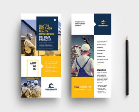 Construction Company DL Rack Card Template