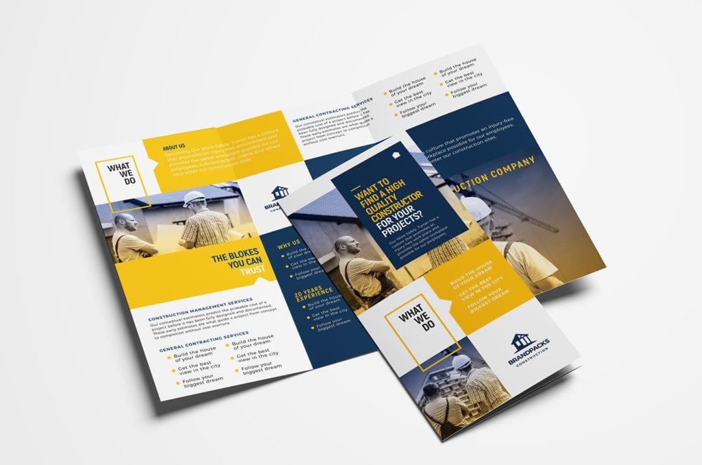 Construction Company Tri-Fold Brochure Template