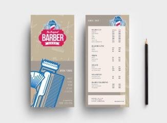 DL Barber Shop Rack Card Template