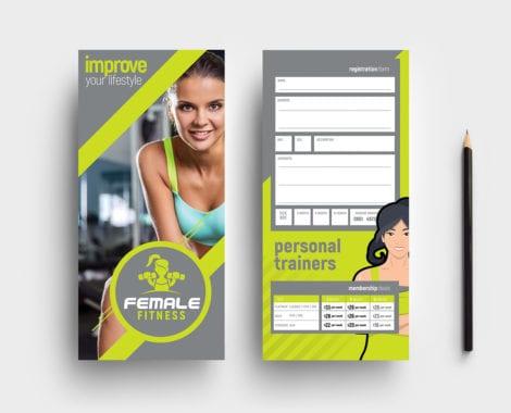 DL Female Fitness Rack Card Template