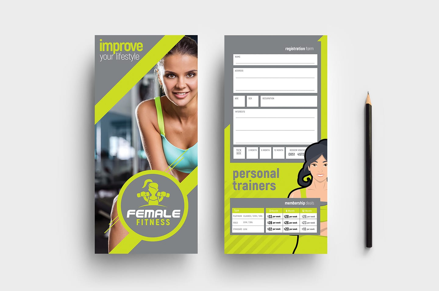 DL Female Fitness Rack Card Template