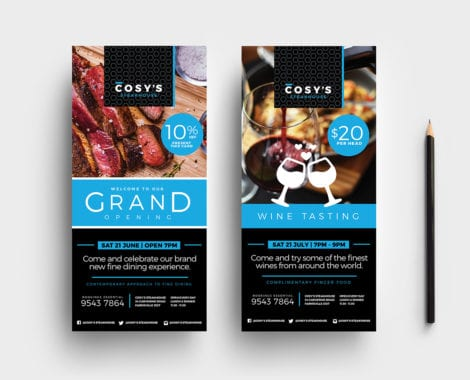 DL Restaurant Rack Card Template