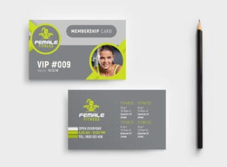 Female Fitness Membership Card Template
