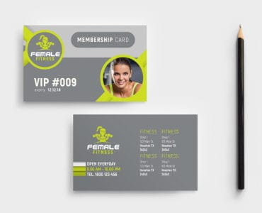Female Fitness Membership Card Template