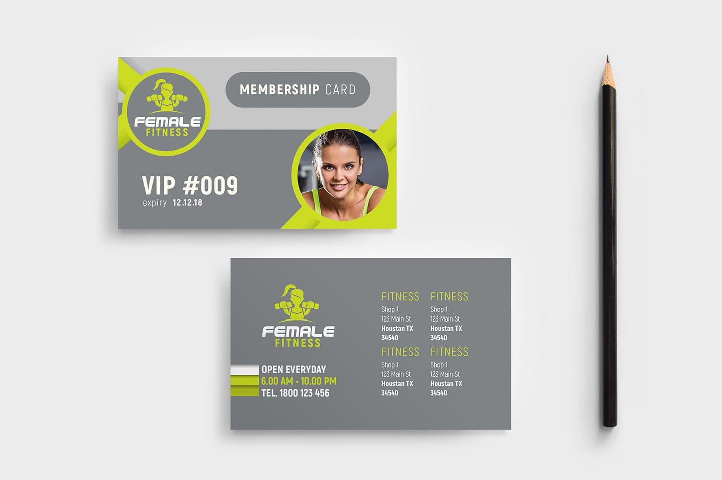female fitness membership card template in psd  ai