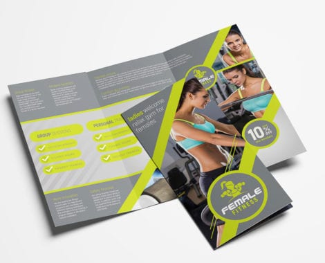 Female Fitness Tri-fold Brochure Template