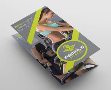 Female Fitness Tri-fold Brochure Template
