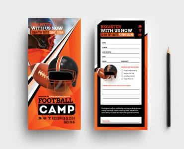 Football Camp DL Rack Card Template