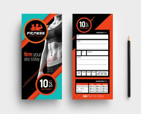 Gym / Fitness DL Rack Card Template