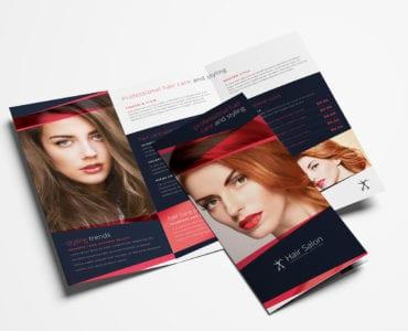Hair Salon Tri-Fold Brochure Template