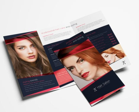 Hair Salon Tri-Fold Brochure Template