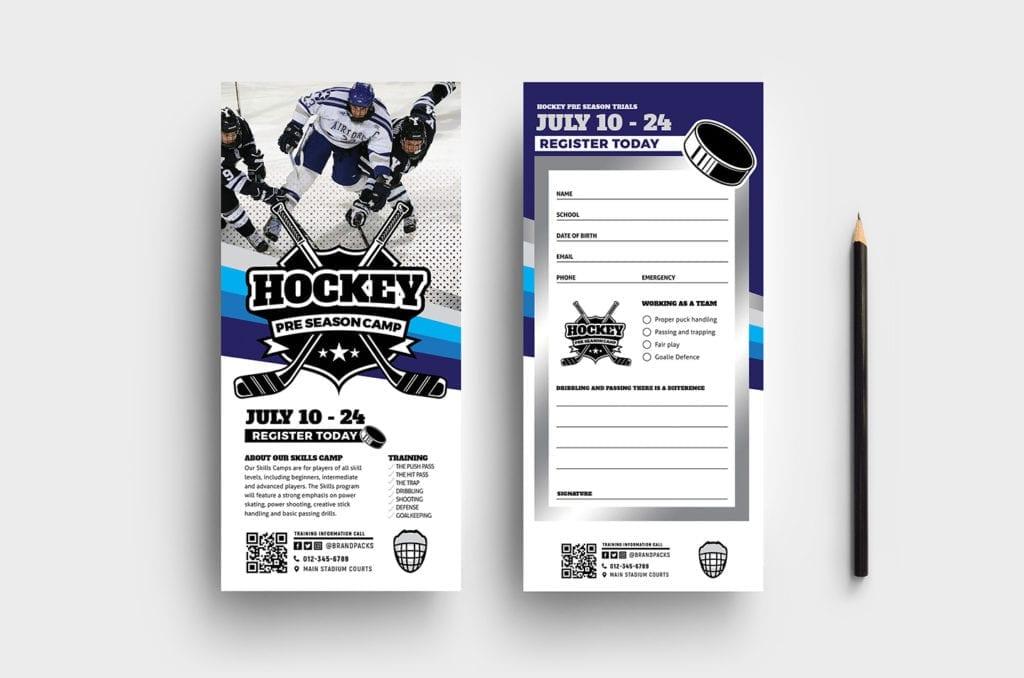 Hockey Club DL Rack Card Template