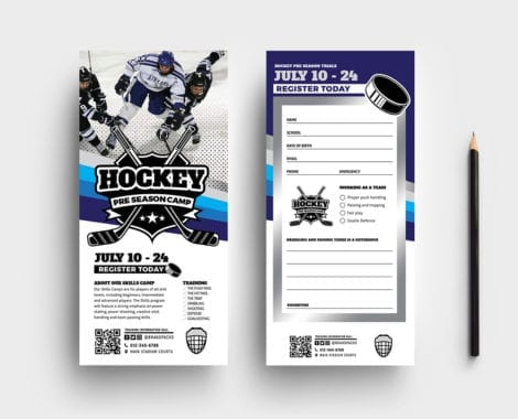 Hockey Club DL Rack Card Template