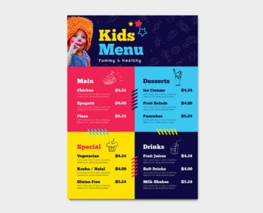 Kid's Menu Template in PSD, Ai & Vector