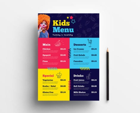 Kid's Menu Template in PSD, Ai & Vector
