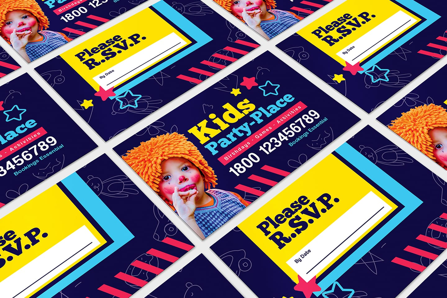 Kid's Party Business Card Template in PSD, Ai & Vector