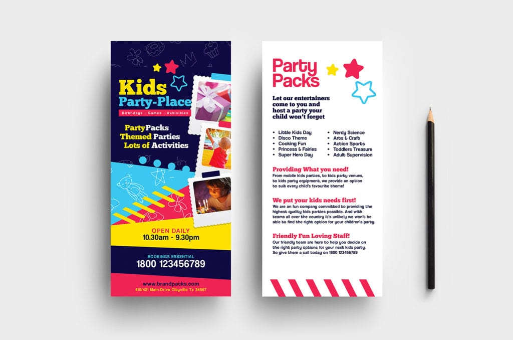 Kid's Party DL Rack Card Template