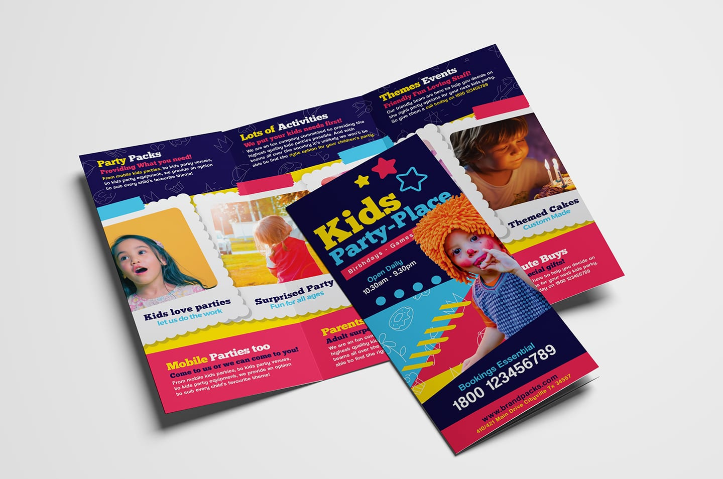 Kid's Party Tri-Fold Brochure Template