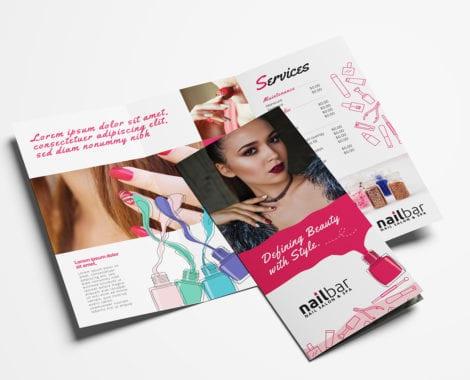 Nail Salon Tri-Fold Brochure Template