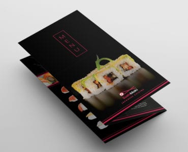 Dark Tri-Fold Sushi Menu Template