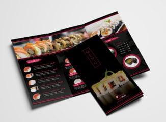 Dark Tri-Fold Sushi Menu Template