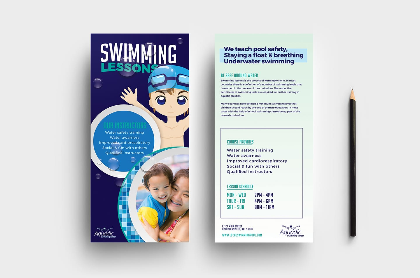 Swimming Centre DL Rack Card Template