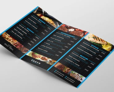 Tri-Fold Restaurant Menu Template Inside